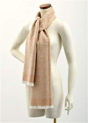 "Loewe Repeat Anagram Wool Shawl/Scarf, 72""L"