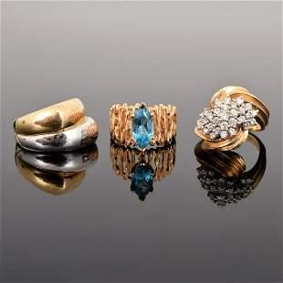 3 14K Gold, Diamond & Topaz Estate Rings