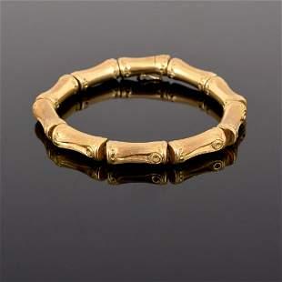 18K Gold Bamboo Link Estate Bracelet