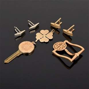 14K Gold Buckle, Key Top, Charm & Cufflink Backs
