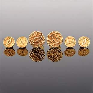 Cartier 14K Gold Logo Cufflinks, 4 Shirt Studs