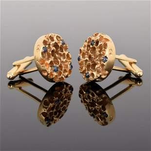 14K Gold & Sapphire Cufflinks
