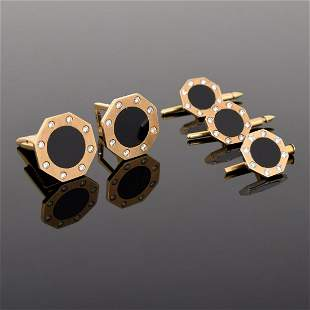 14K Gold, Diamond & Onyx Cufflinks, 3 Shirt Studs