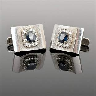 Pair of 14K Gold, Diamond & Sapphire Cufflinks