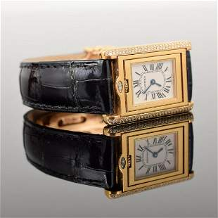 "Cartier ""Civic"" 18K Watch"