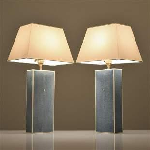 Pair of Shagreen Lamps, Manner of Karl Springer
