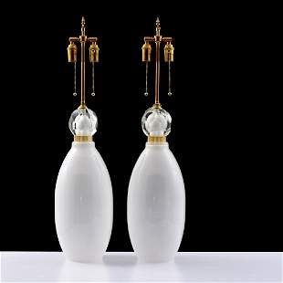 Pair of Large Murano Lamps with Faceted Embellishments