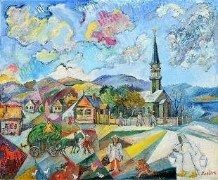 Large David Burliuk Painting, Village Scene