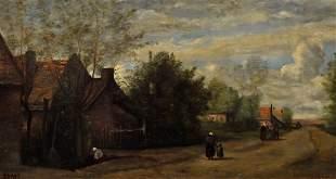 Jean-Baptiste-Camille Corot Painting, Village Scene