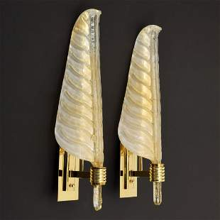 Pair of Large Barovier & Toso Leaf Sconces, Murano