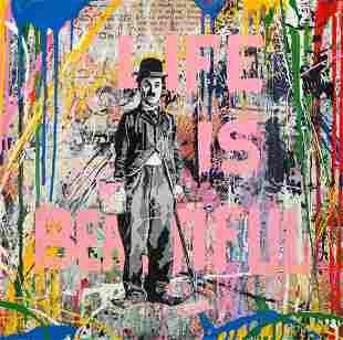 Mr. Brainwash Charlie Chaplin Signed Mixed Media