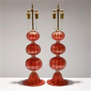 Pair Murano Lamps, Manner of Barovier & Toso
