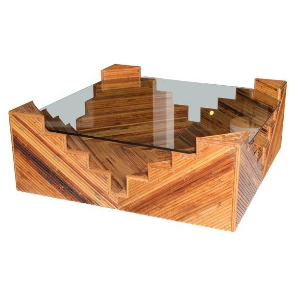 12: Vintage Rattan Table, Geometric Form