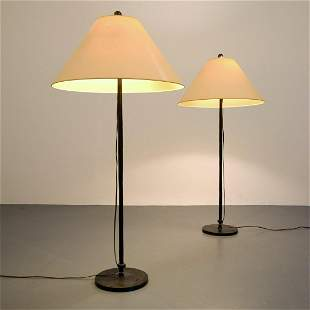 2 Bronze Giacometti Style Floor Lamps, Paige Rense