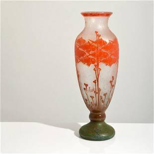 """Large Schneider Le Verre Francais """"Poissons"""" Vase"""