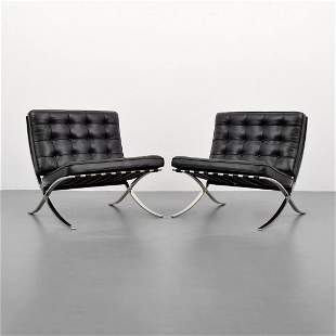 """Mies van der Rohe Leather """"Barcelona"""" Chairs, Knoll"""