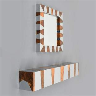 Console Table/Shelf & Mirror, Manner of Paul Evans