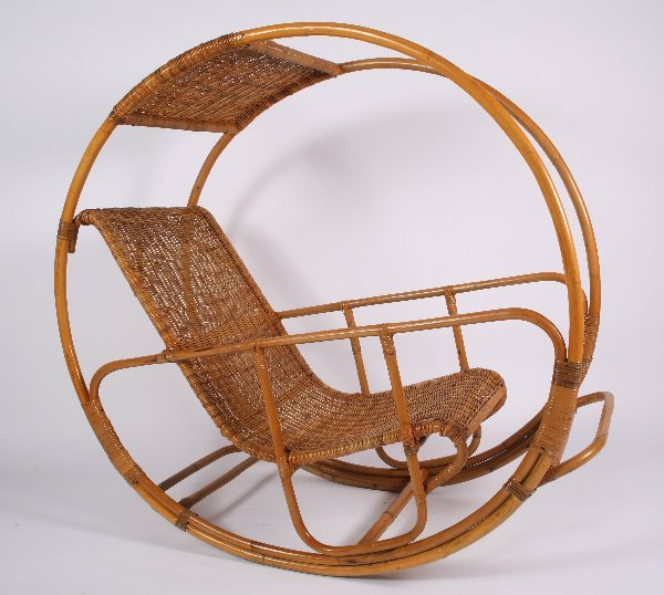 9: Italian Rattan Rocking Chair