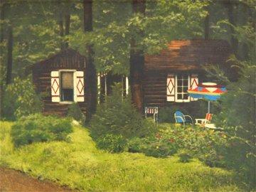 Vintage Framed Adirondack Cottage Photograph