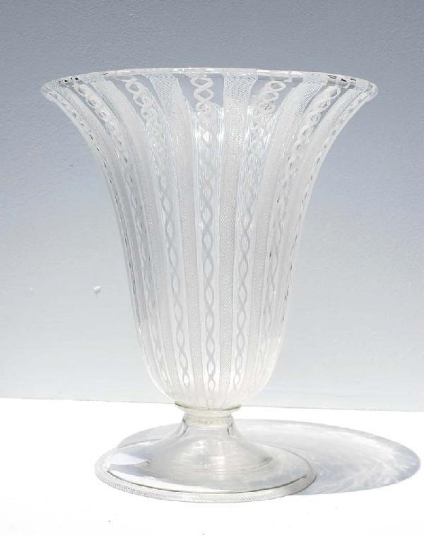 13: Venini Mezza Filigrana Vase