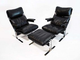 7: Pair of Pace Collection Inc. Chairs & Ottoman