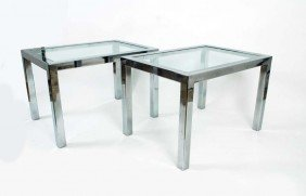 Pair Of Chrome Tables, Manner Of Pace
