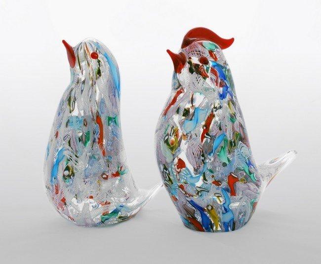1: Pair of Murano Bird Figurines by A.V.E.M.