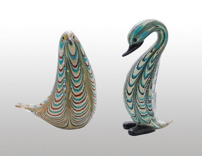 2: Pair of Murano Bird Figurines by A.V.E.M.