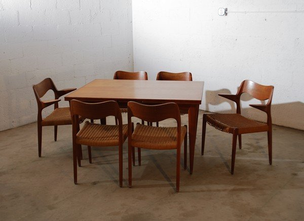 1: Niels O. Moller Dining Table & 6 Chairs
