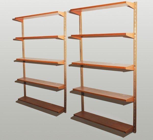 11 pair of danish modern wall mounted book shelves