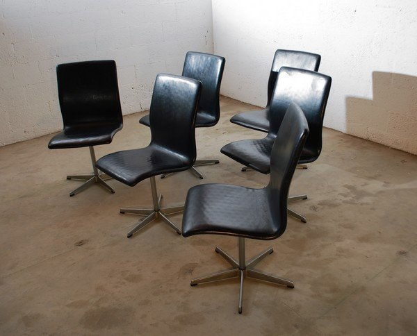 """24: Set of 6 Arne Jacobsen """"Oxford"""" Dining Chairs - 3"""
