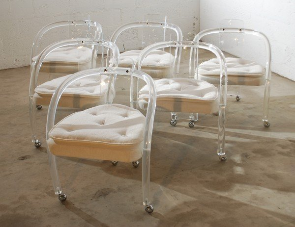 55: Set of 6 Lucite Dining Chairs, Charles Hollis Jones