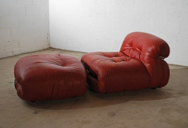 100: Afra & Tobia Scarpa Red Leather Chair & Ottoman - 2