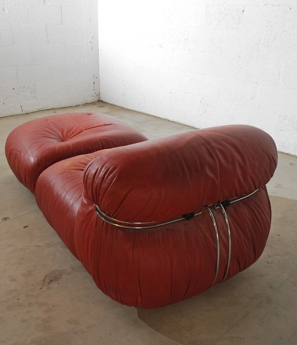 100: Afra & Tobia Scarpa Red Leather Chair & Ottoman - 4