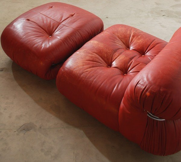 100: Afra & Tobia Scarpa Red Leather Chair & Ottoman - 5