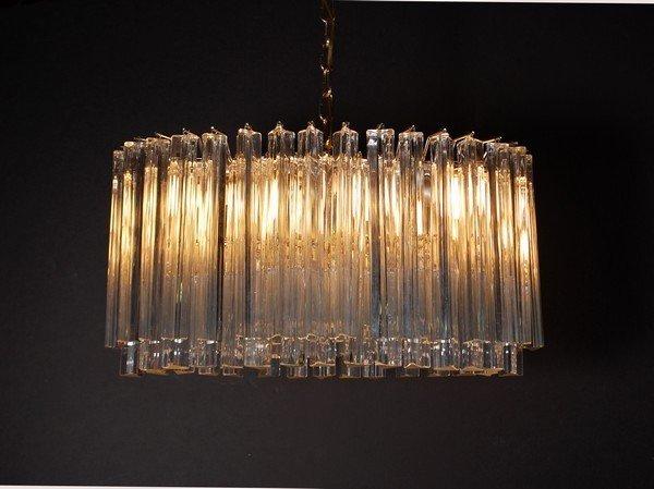 15: Large Venini Prism Glass Chandelier