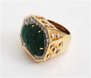 91: 18K, Emerald & Diamond Ring, David Webb