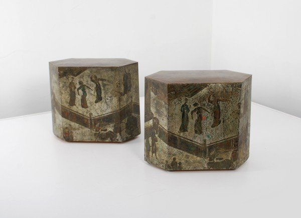 209: Pair of Philip & Kelvin Laverne Occasional Tables