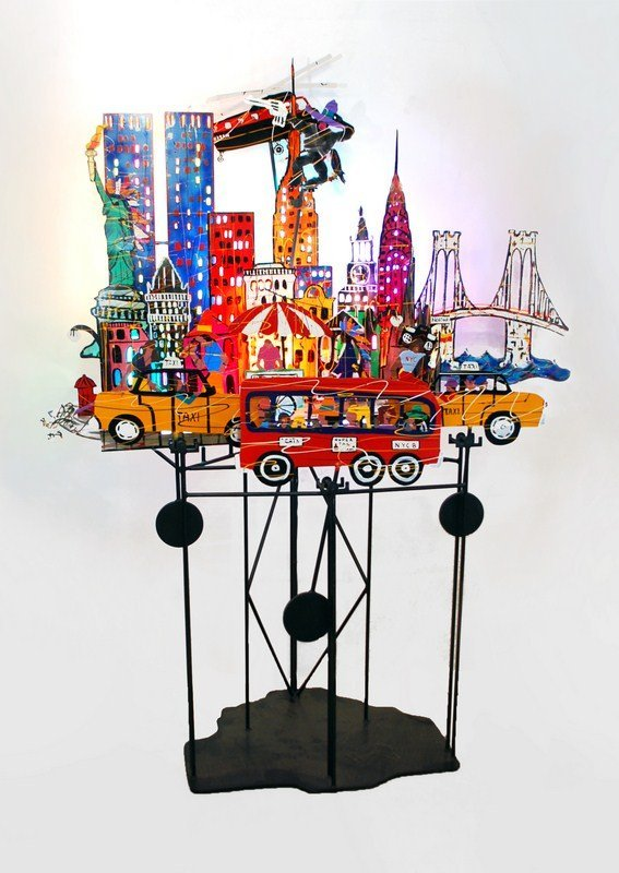98: Large Kinetic/Lit Sculpture by Fredrick Prescott