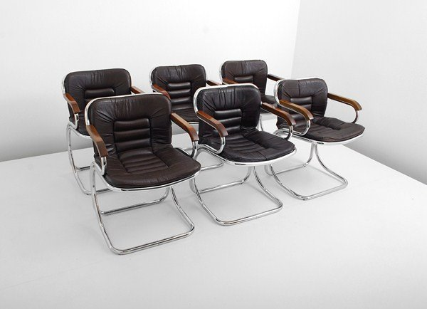 106: Set of 6 Leather Dining Chairs, Pace