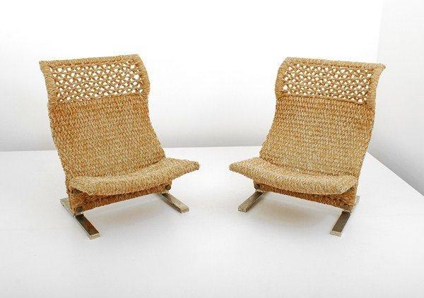 118: Pair of Woven Chairs, Saporiti