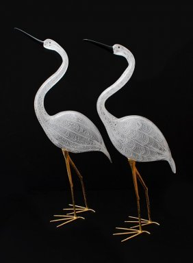 Large Pair Of Luigi Mellara Bird Figurines