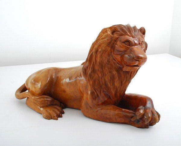 186A: Large Carved Wood Lion Sculpture