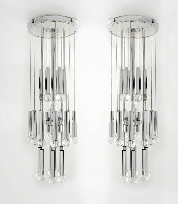 197A: Pair of Large Tiered Chandeliers