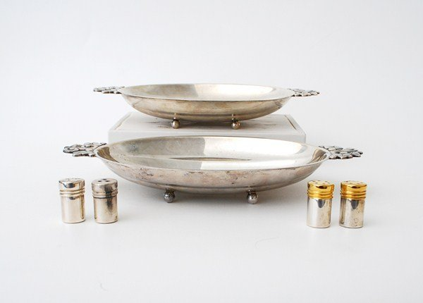 257A: Pair Of Silver Dishes & Salt & Peppers by Tiffany