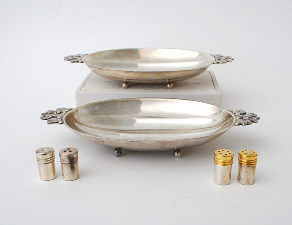 257A: Pair Of Silver Dishes & Salt & Peppers by Tiffany - 2