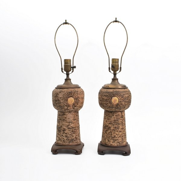 15: Pair of Leopold Anzengruber Stoneware Lamps