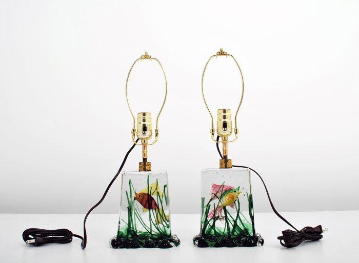 "25: Rare Pair of ""Aquarium"" Lamps by Alfredo Barbini"