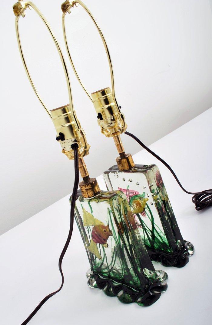 "25: Rare Pair of ""Aquarium"" Lamps by Alfredo Barbini - 2"