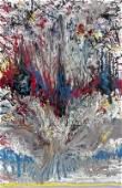 "338: Dennis Akervik Coelho ""Puffer Fish"" Abstract Paint"